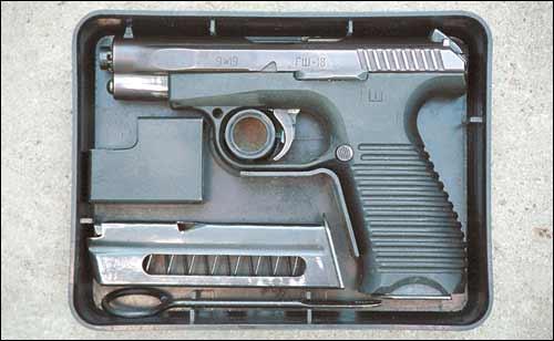 ГШ-18 в комплекте в индивидуальной укупорке. В комплект входят дополнительный магазин, протирка и приспособление для снаряжения магазина